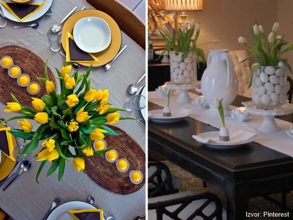 uskršnje dekoracije stola cvećem