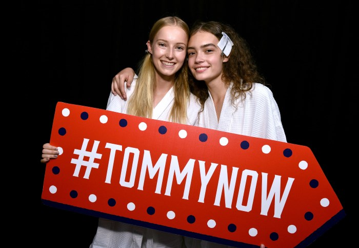 NEW YORK, NY - SEPTEMBER 09: Models pose backstage at the #TOMMYNOW Women's Fashion Show during New York Fashion Week at Pier 16 on September 9, 2016 in New York City. (Photo by Grant Lamos IV/Getty Images for Tommy Hilfiger)