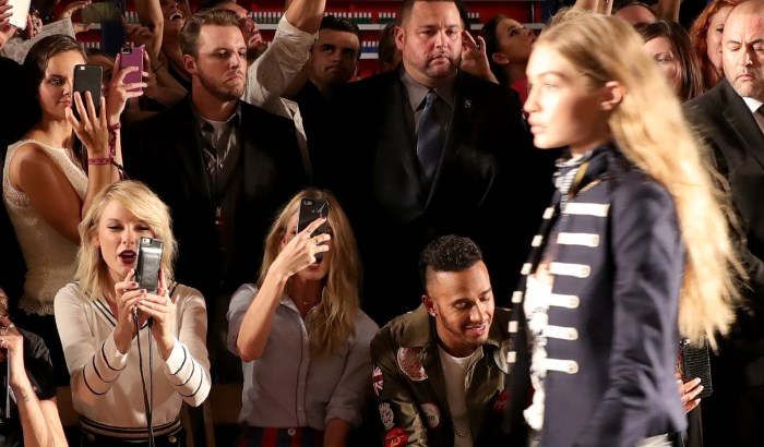 NEW YORK, NY - SEPTEMBER 09: Taylor Swift, Martha Hunt, and Lewis Hamilton attend the #TOMMYNOW Women's Fashion Show during New York Fashion Week at Pier 16 on September 9, 2016 in New York City. (Photo by Neilson Barnard/Getty Images for Tommy Hilfiger)