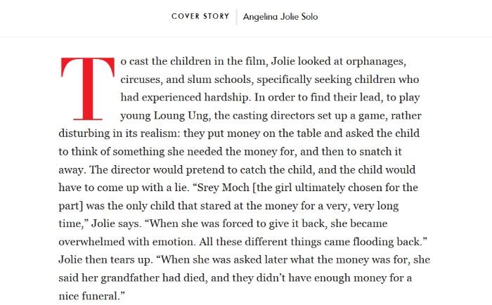 deo teksta kako angelina jolie bira glumce za novi film