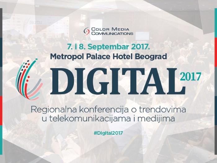 najavni baner za digital 2017 konferenciju o trendovima u telekomunikaciji i medijima