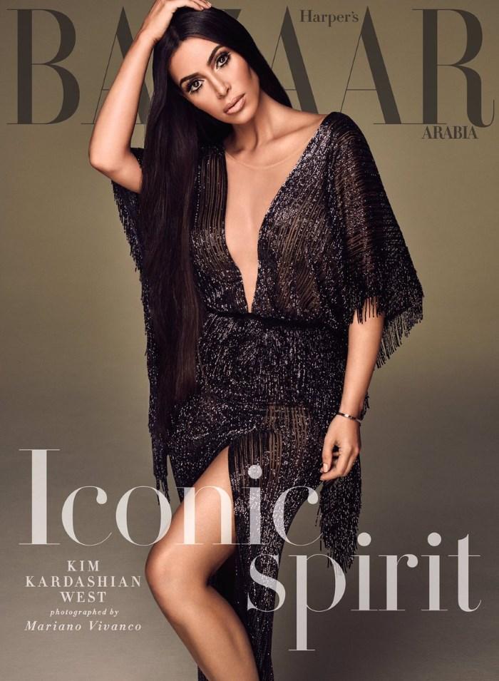 naslovna strana arabijskog harper's bazaar sa kim kardashian kao cher
