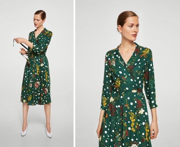 šta obući za novu godinu zelena preklop haljina