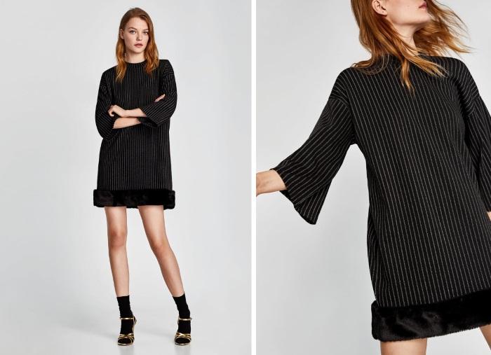 šta obući za novu godinu crna haljina sa krznom