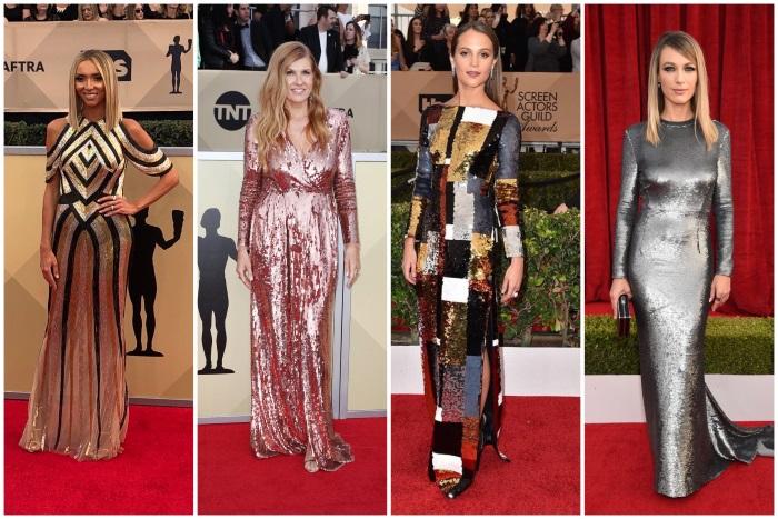 sag awards 2018 obučene u metalik haljine
