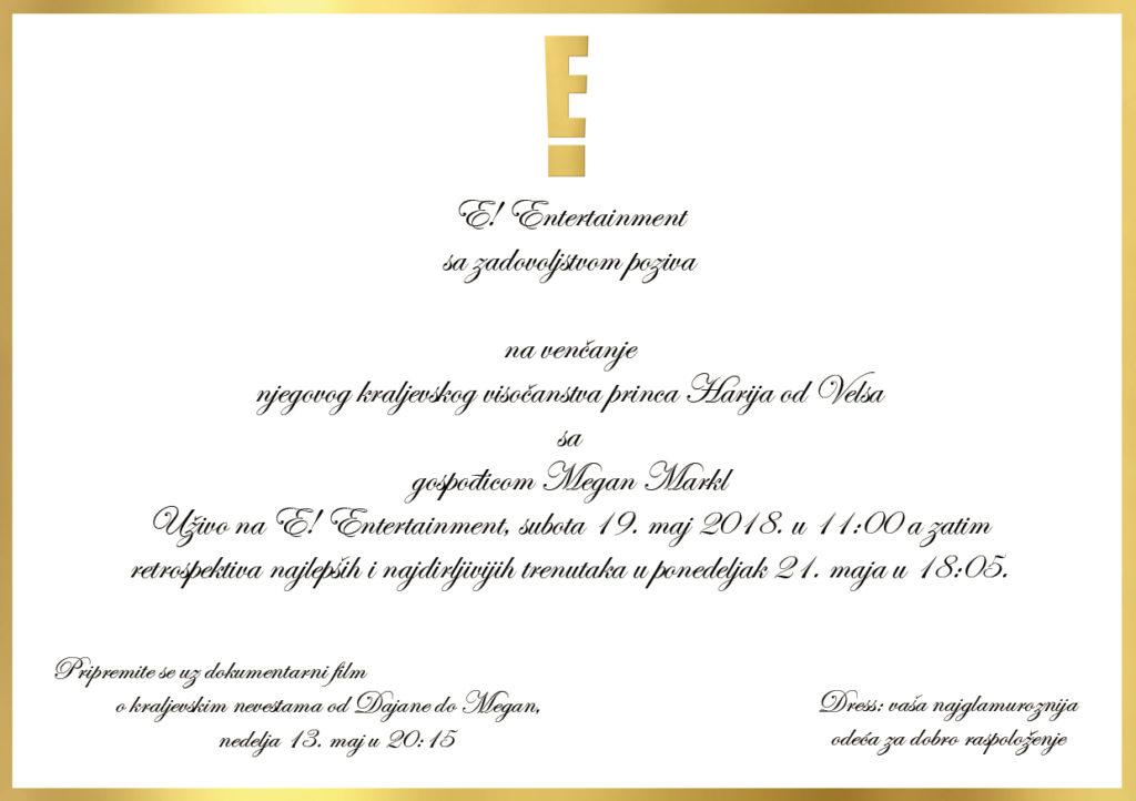 pozivnica za kraljevsko venčanje uživo na kanalu E!