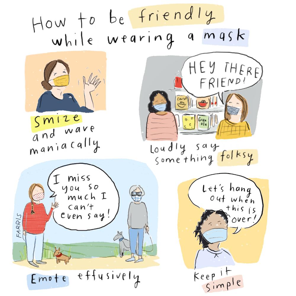 kako biti prijateljski nastrojeni dok nosite masku