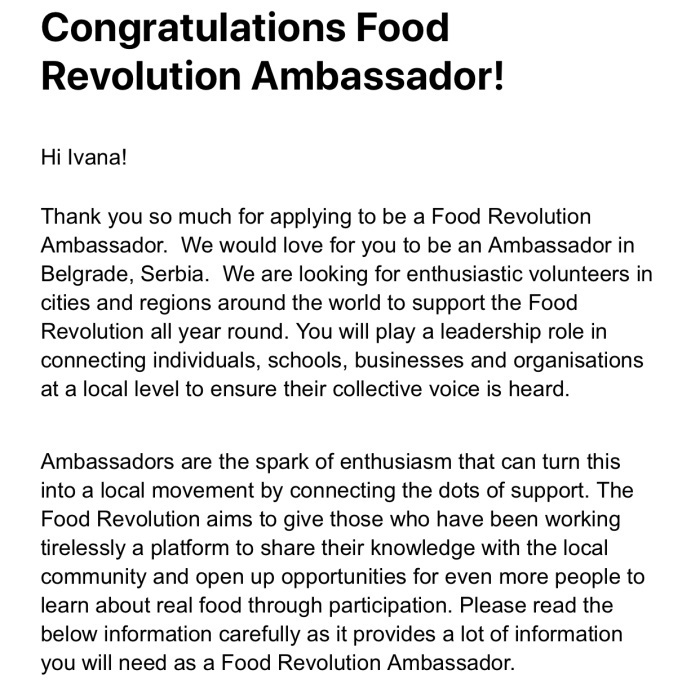 revolucija hrane potvrda za ambasadora