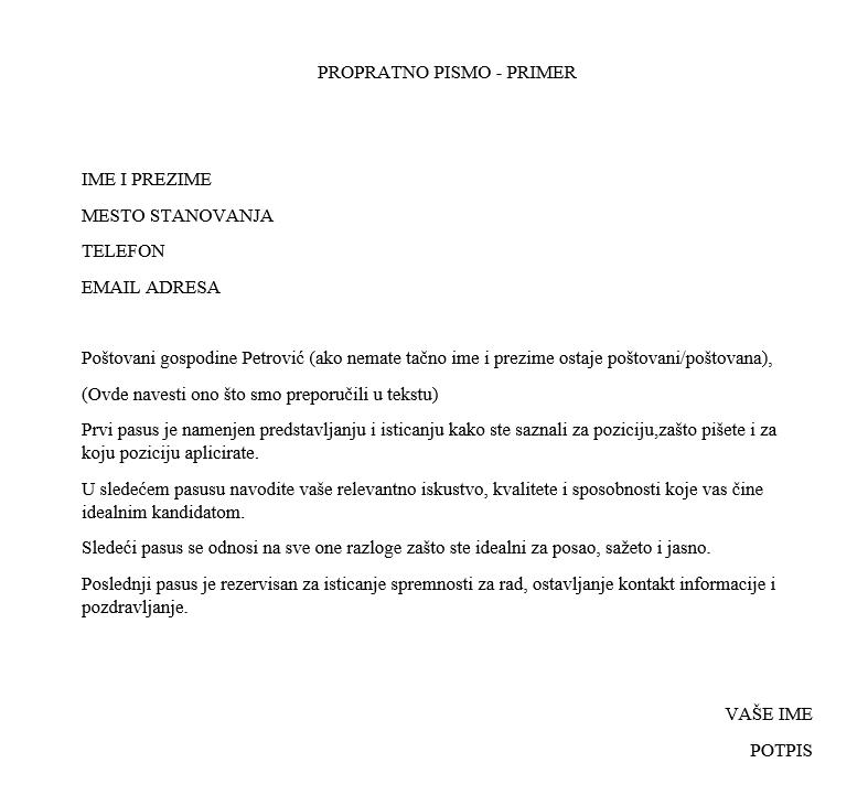 propratno pismo za posao primer